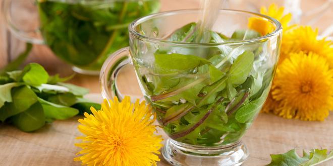 Dandelion tea being prepared as part of herbal detox